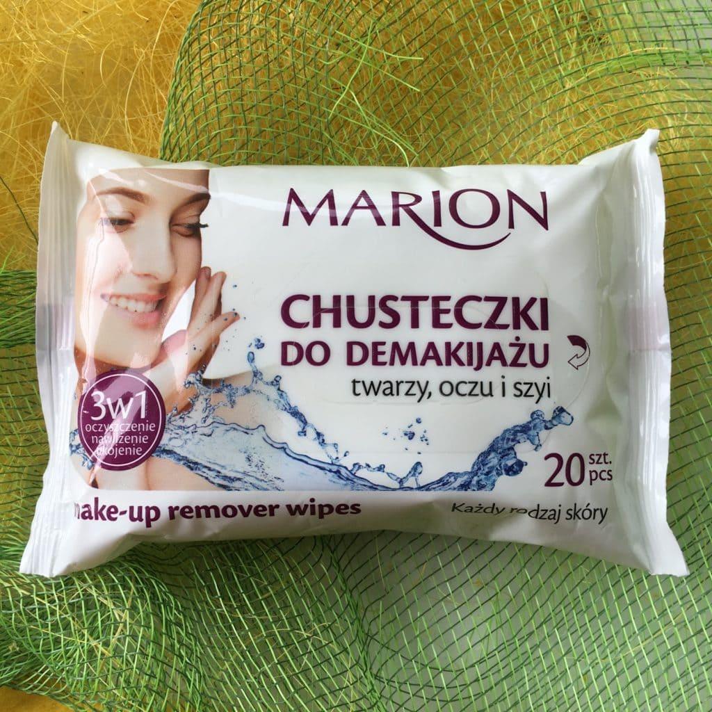 Nawilżane chusteczki od Marion, do demakijażu, odświeżające oraz antybakteryjne.