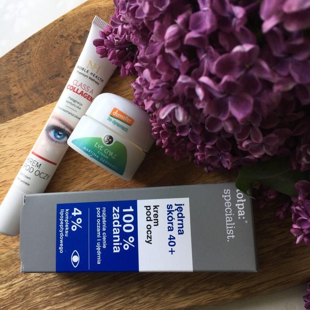 3 produkty to seria mini recenzji, dziś  krem pod oczy z Martina Gebhardt, Noble Health oraz Tołpa.
