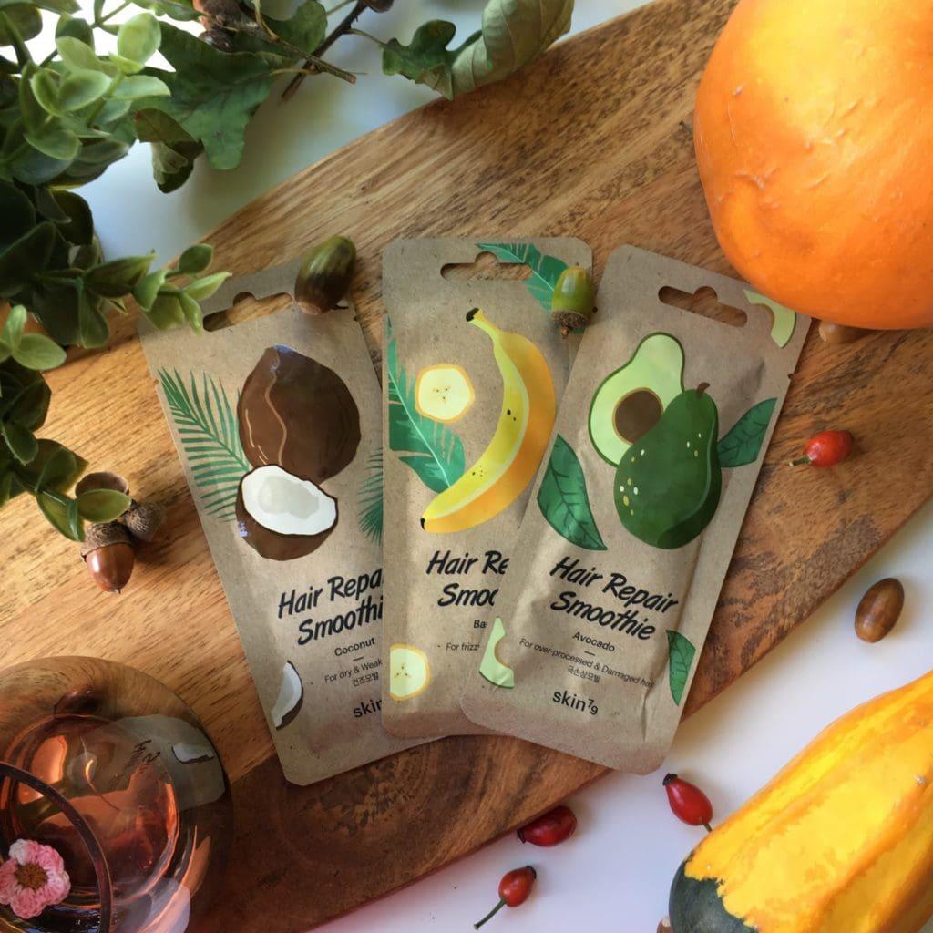 Maski do włosów od Skin79 - Hair Repair Smoothie - Regenerująca maska do włosów Avocado, Regenerująco-odżywcza maska do włosów Banana oraz Regenerująco-wygładzająca maska do włosów Coconut i moje wrażenia na ich temat.