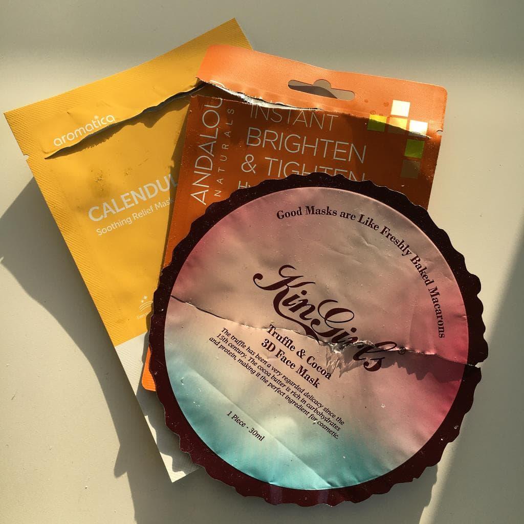 Maski w płacie z Andalou Naturals, Aromatica oraz Kin Girls.